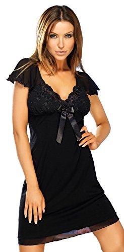 Donna schickes und Stylisches Viskose-Negligee Nachthemd Sleepshirt in Schwarz mit zarter stikerei am Dekolletee und niedlichen Tüll-Ärmeln, schwarz, Gr. XXL