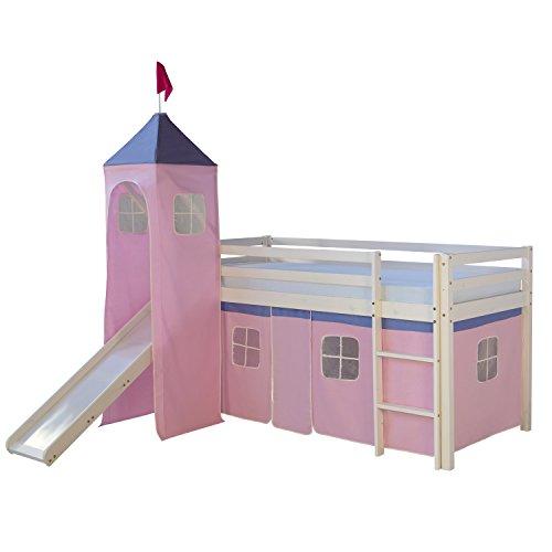 Homestyle4u 1551_074 Lilly III. Hochbett Spielbett Kinderbett Weiss aus Kiefer mit Leiter Turm Rutsche und Vorhang in Rosa Rose B x H 90 x 200 cm Jugendbett