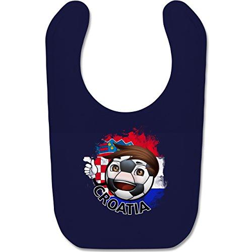 Shirtracer Fußball-Europameisterschaft 2020 - Baby - Fußballjunge Kroatien - Unisize - Navy Blau - BZ12 - Baby Lätzchen Baumwolle -