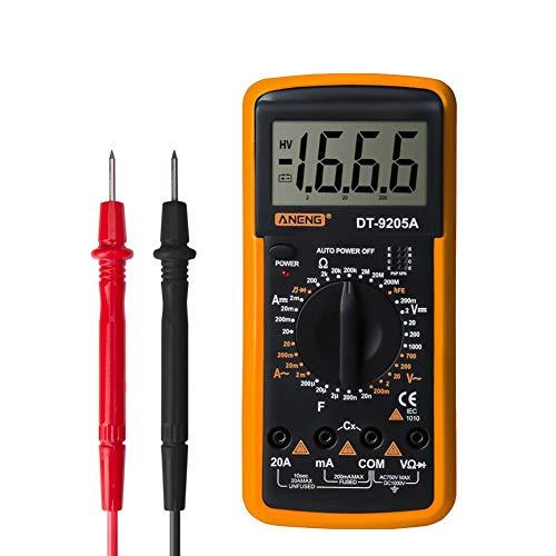 Digital Multimeter Voltmeter Amperemeter Ohmmeter mit Temperaturmessung, LCD-Anzeige und Durchgangsprüfung,Unterstützt den Ruhemodus und die Datenaufbewahrung