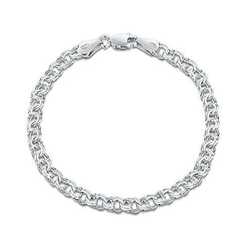 Amberta® Bijoux - Bracelet - Chaîne Argent 925/1000 - Double Maille Gourmette - Largeur 4.5 mm - Longueur 18 19 20 cm