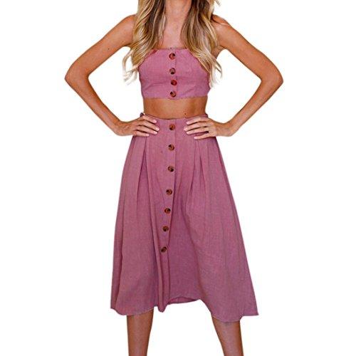 Vestidos mujer, Amlaiworld Vestidos mujer verano Conjunto de Falda mujer vacaciones bowknot encaje playa botones Tops Chaleco y Falda Conjuntos Vestido de playa (Rosa caliente, XL)