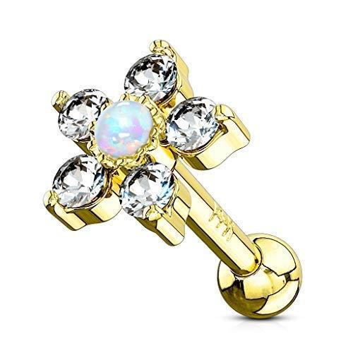 Tapsi´s Coolbodyart®®  Ohr Cartilage Tragus Barbell 14 Karat Gelbgold Blume Zirkonia/Opal