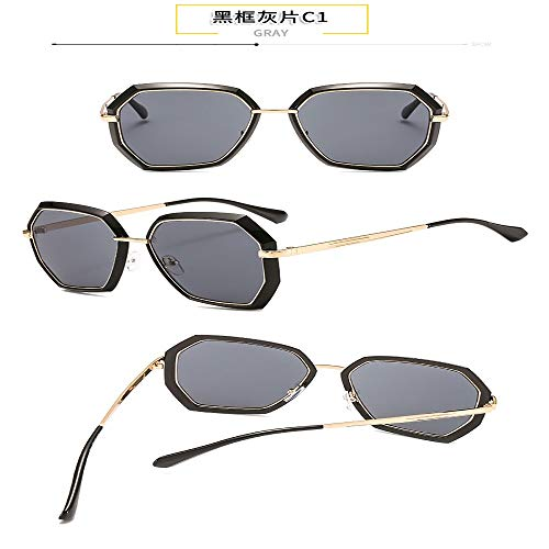 FANGLING-SUNGLASSES Gezeiten Sonnenbrillen New Anti-UV-Sonnenbrille Mode Street Beat rundes Gesicht polarisiert (Color : Black)