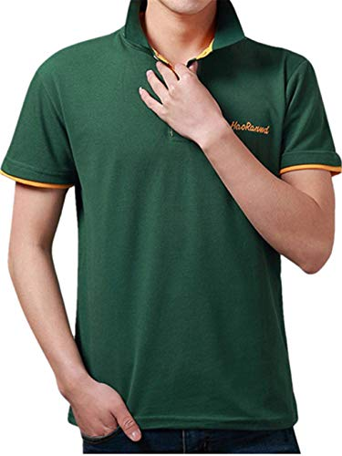 Tyoby Sommer Herren Poloshirt Kurzarm Basic T-Shirt Freizeit Briefdruck spleißen Polohemd(R,XXL)