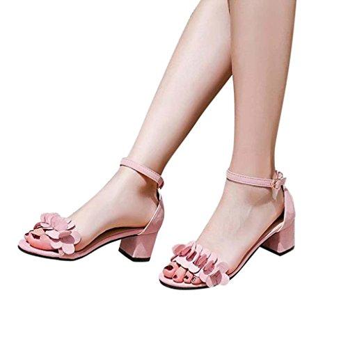 Zapatos de tacón mujer ❤️ Amlaiworld Sandalias de tacón alto para mujer primavera verano Sandalias tacon fiesta chanclas Zapatos de playa Calzado zapatillas Mujer sneakers cuñas mujer Zapatos Señoras flores adornan hebilla zapatos (Rosa, 38)