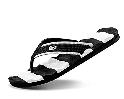 Men Open Back Slippers 2017 Summer New Characters Flip Wave Typ Anti-Skid Hornisse Hausschuhe Sandalen black and white