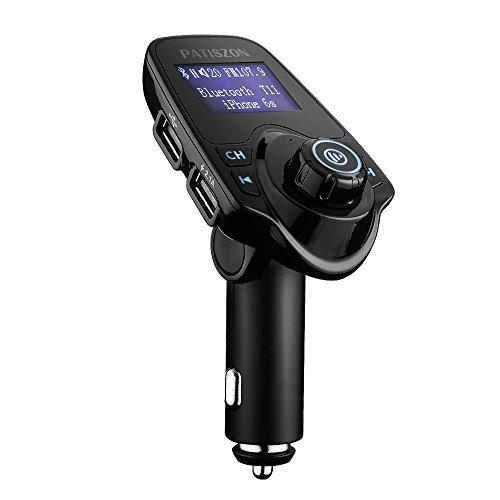 Patiszon Bluetooth FM Transmitter KFZ Auto Radio Adapter freisprecheinrichtung Car Kit integriertem mit 5V/3.4A 2 USB Ladegerät TF-Karten-Slot für IOS Android