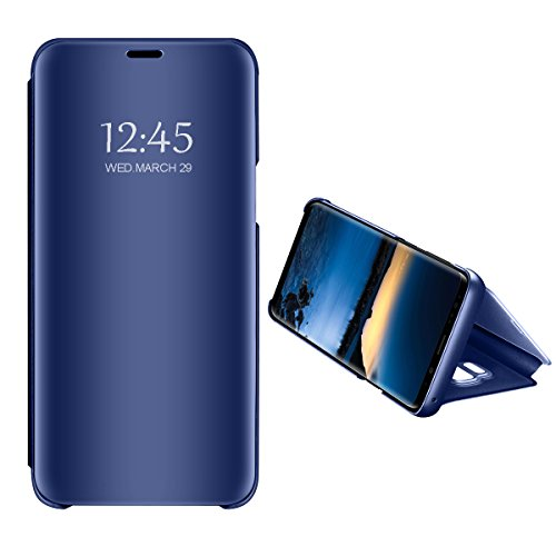 Funda Samsung Galaxy Note 9 Carcasa Espejo Flip Caso Book PC Hard Teléfono Móvil Shell Cover Anti-Scratch Protector Caso Cáscara Case para Galaxy Note 9 (Azul, Galaxy Note 9)