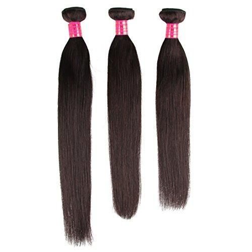 Beauty7 3 Bundle Extension de Cheveux Naturel Trame de Cheveux Raides Vierge Peruviens - 100% de haute qualite - intact cuticle ( etiquette violet rouge ) 16\\