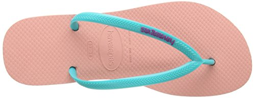 Havaianas Zehentrenner Damen Slim Logo Rosa (Orchid Rose / Turquoise 8613)