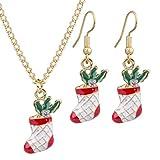 L_shop Weihnachten Halskette Set Weihnachten Neuheit Socke Glocke Schneemann Schneeflocke Kreative Mode Anhänger Baumeln Kette Ohrringe, Gold
