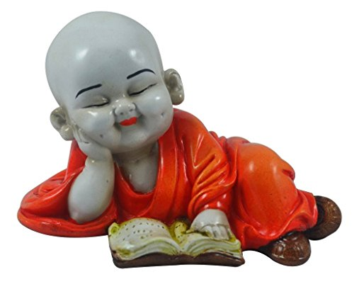 Karigaari India Polyresine Monks Buddha Reading Book Showpiece