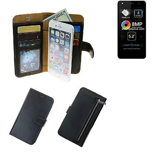 K-S-Trade® Für Allview A9 Lite Portemonnaie Schutz Hülle Schwarz Aus Kunstleder Walletcase Smartphone Tasche Für Allview A9 Lite - Vollwertige Geldbörse Mit Handyschutz