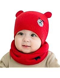 DORRISO Linda Bebe Pequeña Oso Gorro con Bufanda Otoño Invierno Calentar Sombrero de Niño Adecuado para bebé de 0-3 años