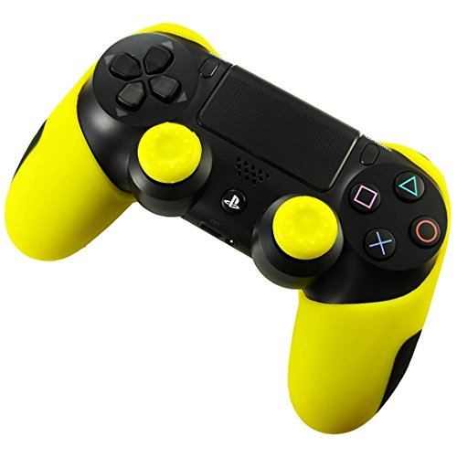 Flexible Silikon Hülle Schutzhülle Case Skin Joypad für Sony PlayStation 4 PS4 Dualshock Wireless Controller + 2 Thumbstick Grips (Yellow)