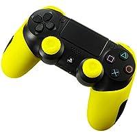 DOTBUY Silicone Case Denso Metà Custodia Protettiva per PS4 x 1 + 2 Controller analogico puntina manopole Cap (Yellow)
