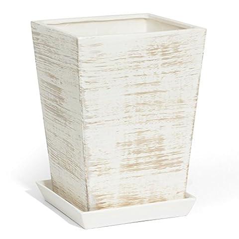 Pot de fleur ceramique Victoria avec soucoupe support hauteur 33 cm largeur 29 cm en couleur de beton
