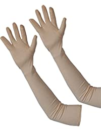 Gopani Women's Cotton Full Hand Biking and Driving Dust and Sun Protection Gloves (Beige, Medium)