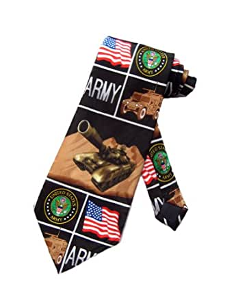 Steven Harris Mens United States Army Tank Necktie - Black - One Size Neck Tie