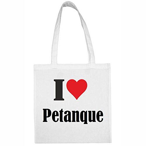 """Tasche""""I Love Petanque""""Größe""""38x42""""Farbe""""Weiss""""Druck""""Schwarz"""