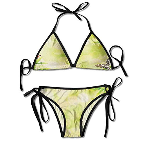 Padded Halter Bikini Set,Standing on a Bamboo Sexy Bikini 2 Pieces -