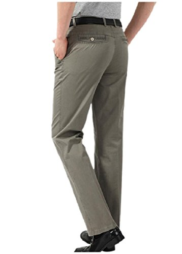 CuteRose Men Thin Solid Classic Fit Hidden Expandable Waist Chino Pants Dark Grey 35 Classic Pleated Chino-khaki