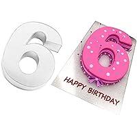 EURO TINS Teglia grande numero SEI per dolce di compleanno o ricorrenza (misura 35.5 x 25.4cm - profondità