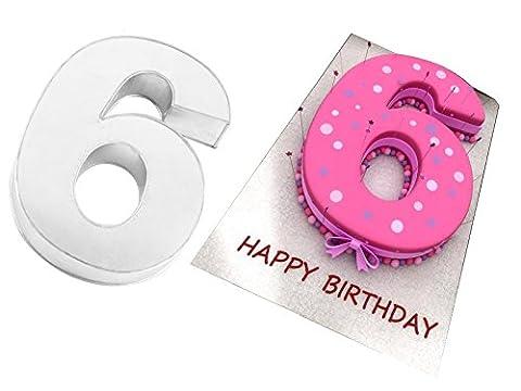EURO TINS Grand moule pour gâteau d'anniversaire en forme de nombre SIX 35 cm