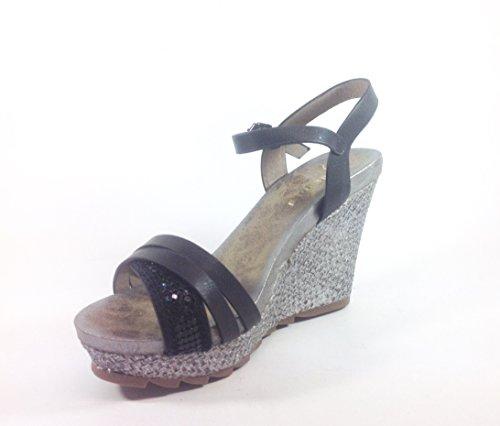 Scarpe donna sandali con zeppa in ecopelle JB176 Nero