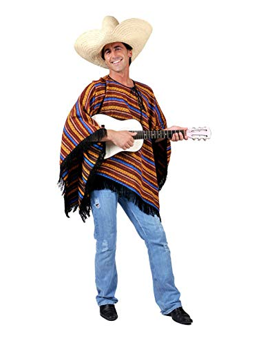 TrendClub100® Mexikaner Kostüm Poncho für Erwachsene - Jose Lopez - ()