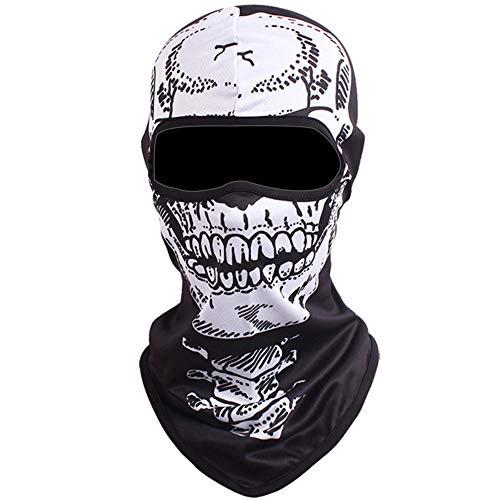 Shujin Unisex Outdoor Maske Multifunktionen Sturmhaube Gesichtsmaske Motorrad Ski Snowboard Fahrrad Maske mit Lustig 3D Tier Motiv Printed Hals Kopftuch (Skelett, One Size)
