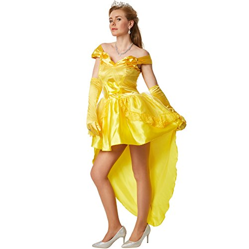 Prinzessin Sexy Kostüm Damen - dressforfun Sexy Prinzessin Belle | Kleid mit eingenähter Unterrock aus Tüll | inkl. langen Satinhandschuhen (S | no. 301868)