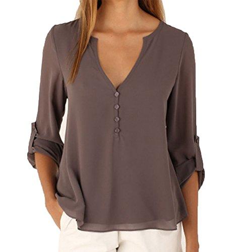 patgoal Donna Elegante V Collo Chiffon Camicetta a maniche lunghe camicie Grey 42/Etichetta L