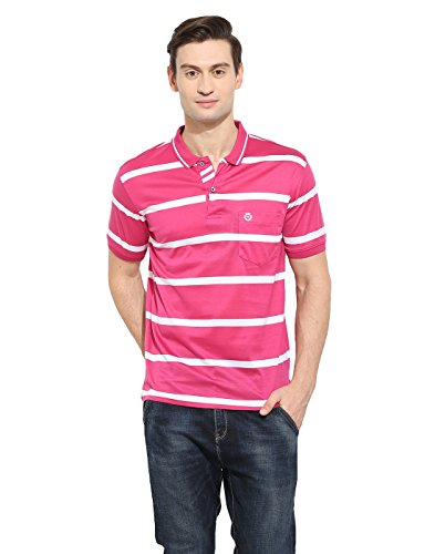 Duke Regular Fit Striper T-shirt For Men Polo Neck 100% Organic Mercerised Cotton Material Pink Color