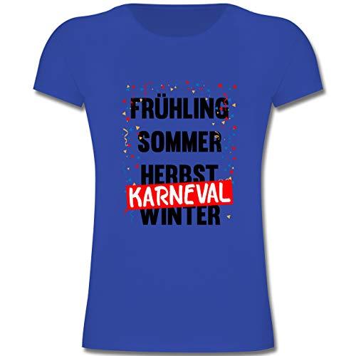 Karneval & Fasching Kinder - Frühling, Sommer, Herbst, Karneval, Winter - Karneval Kostüm - 164 (14-15 Jahre) - Royalblau - F131K - Mädchen Kinder T-Shirt