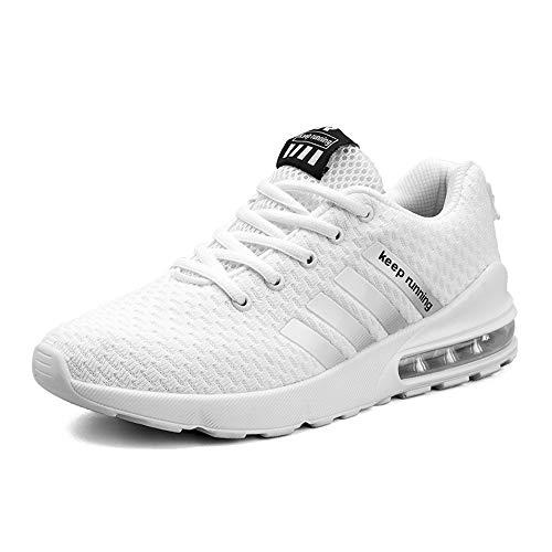 MUOU Uomo Scarpe da Ginnastica Basse Uomo Scarpe da Tennis Uomo Corsa Sportive Running Sneakers Uomo Fitness Casual(41EU,Bianco)