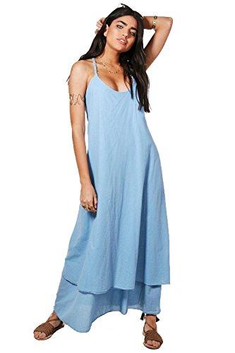 Damen Blau Kayla Maxikleid Mit Kordel-detail Blau