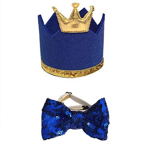 EPRHY Haustier-Set mit Hut und Fliege, mit verstellbarem elastischem Kopfband und Goldener Krone, für kleine und mittelgroße Hunde, Katzen, Welpen, Blau