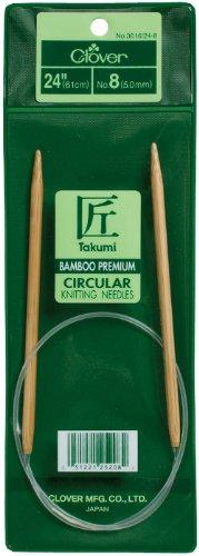 Clover Takumi Stricknadeln Bambus Rundstricknadeln 24-inchsize 10,5/6,5mm, andere, mehrfarbig - Clover-stricknadeln Takumi