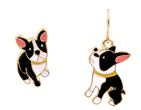 Mismatched Little French Bulldog - Terrier - Drop Hook Earrings (In Organza Bag)