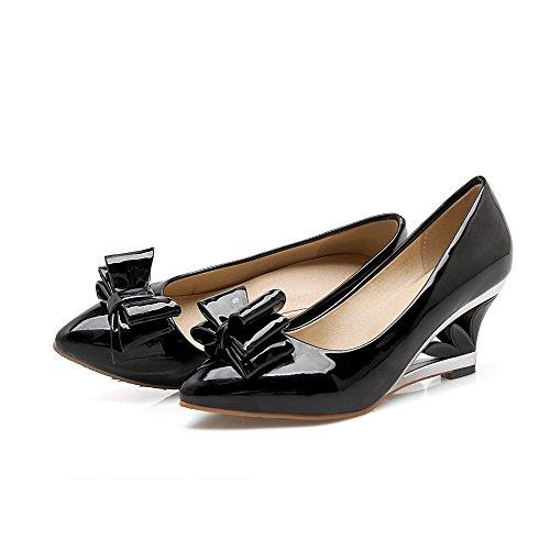 VogueZone009 Femme Pointu à Talon Correct Verni Couleur Unie Tire Chaussures Légeres Noir
