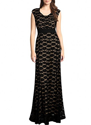 Miranda's Bridal Women's Cap Sleeve Lace A Line Long Mother of the Bride Dress Black - Bridal Cap Sleeves
