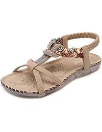 Tomsent Damen Sommer Bohemia Flache Sandalen Netzgarn Strass Strandschuhe Mädchen Zehentrenner Peep Toe Shoes Sandalen Flip Flop Schwarz EU 40 39Ib3Kj