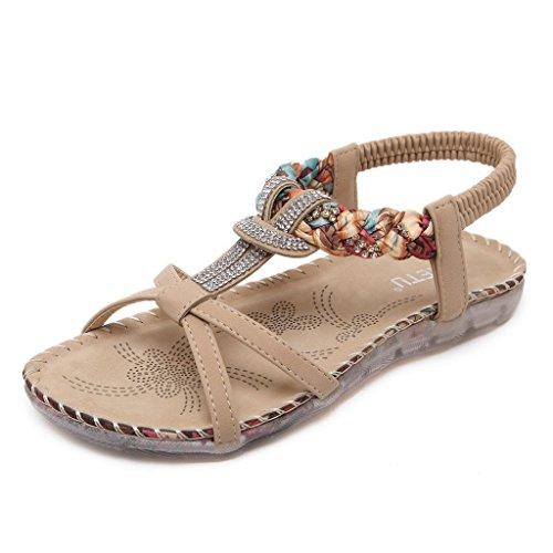 Minetom Damen Mädchen Sommer Sandalen Strandschuhe Böhmische Stil Strass Peep Toe Flache Schuhe Aprikose EU 38 (Sale Mädchen-toms)