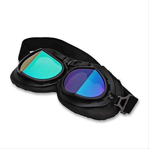 XYQY Brille Retro Motorrad Helm Pilotenbrille Jet Aviator Vintage Pilotenbrille Motorrad Roller Brille Uv für Helmals das Bild gezeigt