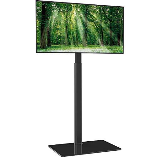 Hemuduplus TV Bodenständer TV Standfuß TV Ständer Fernsehstand Glas höhenverstellbar schwenkbar für 19 bis 42 Zoll Flachbildschirm