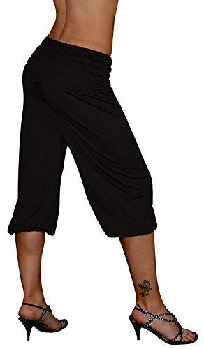 S&LU tolle kurze Damen Haremshose, 3/4 Pluderhose in 4 Größen von XXS bis XXXXXXL (6XL) wählbar schwarz