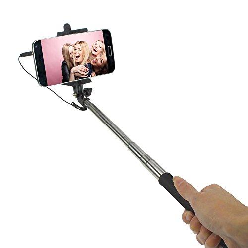STYLETEC ausziehbare Selfie Stange / Stick / Stab mit Handschlaufe - Kabelsteuerung (schwarz)