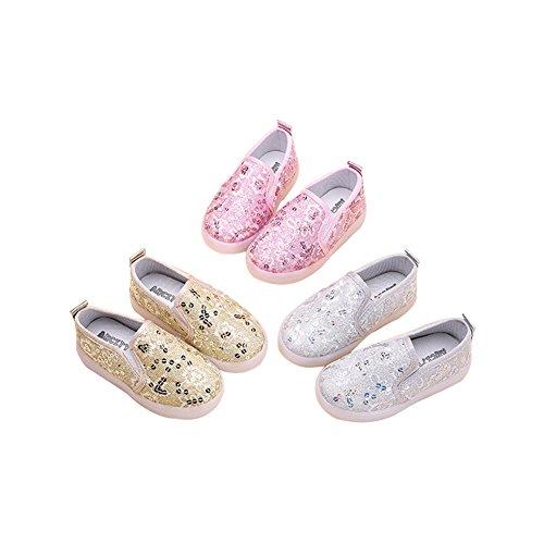 TAIYCYXGAN Jungen Mädchen Led Schuhe Turnschuhe Kinder Paillette leuchtende Atmungsaktive Schuhe mit flachen Frühling-Sommer Gold